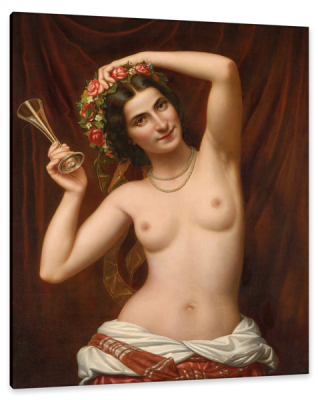 Naked Beauty with Floral Wreath and Champagne Glass, c.1880, Oil on Canvas