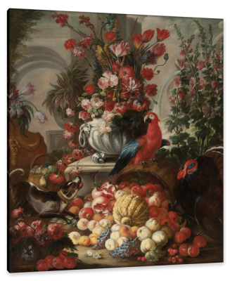 Still-Life of Fruit and Flowers with a Dog, Parrot and Turkey, c.1700, Oil on Canvas