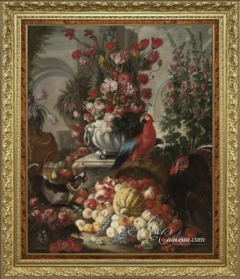 Still-life of Fruit and Flowers with a Dog, Parrot and Turkey