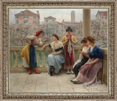 Conversations on a Venetian Terrace, after Eugen von Blaas
