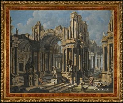 Architectural Capriccio with a Statue of Hercules, after Pietro Capelli