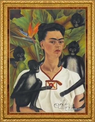 Self-Portrait With Monkeys, after Frida Kahlo