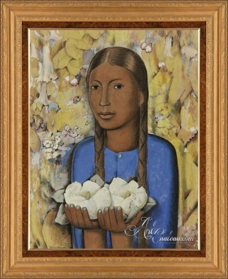 The Girl of the White Flowers, after Alfredo Ramos Martínez