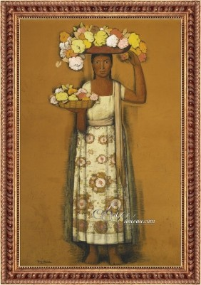 Woman with Flowers, after Alfredo Ramos Martínez