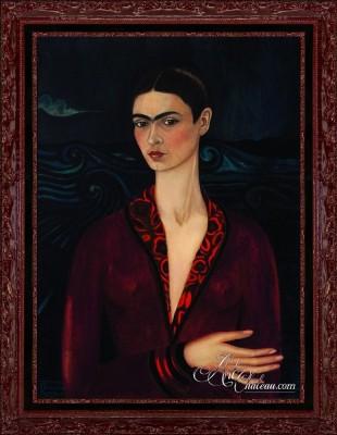Self-Portrait in a Velvet Dress, after Frida Kahlo