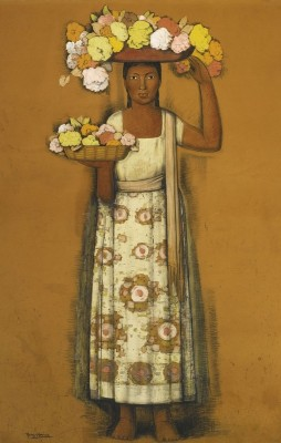 Woman with Flowers, c.1935, Gouache and Ink on Parchment