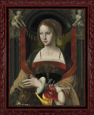Flemish Style Painting, Saint Mary Magdalene with Angels