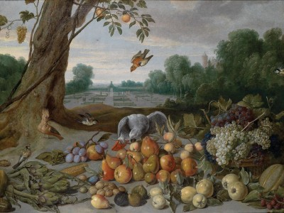 A Still Life with Apples, Pears, Quinces, Grapes and Grey Parrot, c.1650, Oil on Canvas