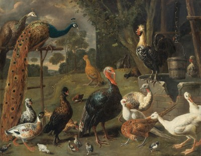 Peacock, Turkeys and Peahen on a Perch, c.1638, Oil on Canvas