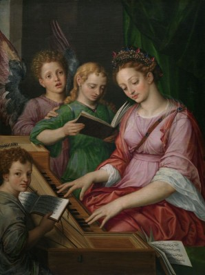 Saint Cecilia Playing the Harpsichord, Accompanied by Three Angles, c.1467, Oil on Canvas