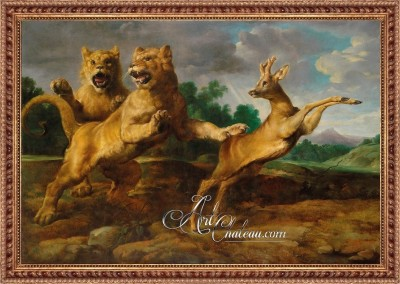 Two Lionesses Hunting a Roebuck, after Frans Snyders