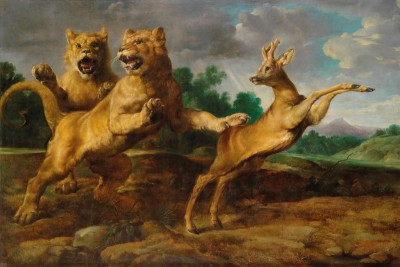 Two Lionesses Hunting a Roebuck, c.1610, Oil on Canvas