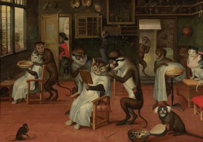 The Monkey Barber's Shop, c.1660, Oil on Canvas