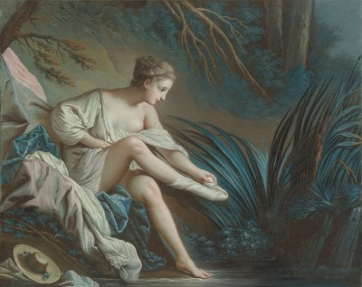 Nymph Bathing, c.1760, Pastel on Parchment
