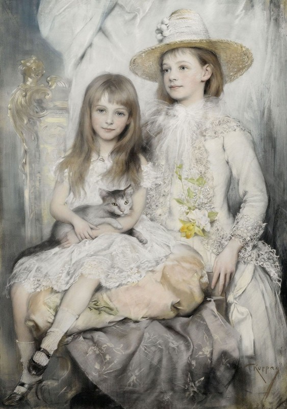 Rosie and Jenny Rozsika Deutsch, Later Know as the Dolly Sisters, c.1902, Pastel on Parchment