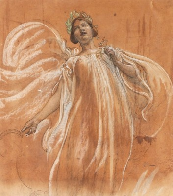 Study of Jenny Lind, c.1900, Pastel on Brown Parchment