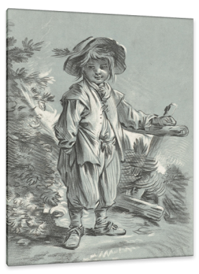 A Boy Standing at a Fence, c.1766, Black and White Chalk on Grey Parchment