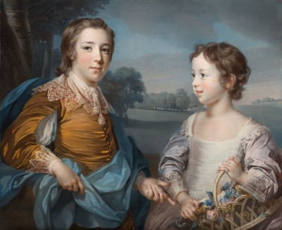 Portrait of Joseph Gulston and his Sister Julia, c.1754, Pastel on Blue Paper