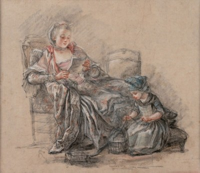 Madame Pompadour with her Daughter Alexandrine, c.1748  Black, White, Blue, and Red Chalk