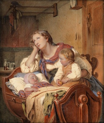 A Family Idyl, c.1866, Pastel on Parchment