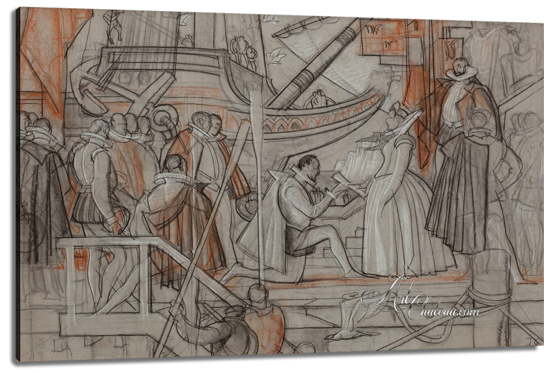 Sir Walter Raleigh accepting his charter from Queen Elizabeth I