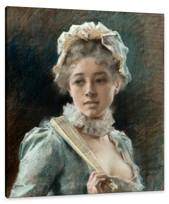 Young Woman with a Fan, c.1880, Pastel on Parchment