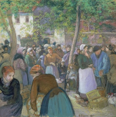 Poultry Market at Gisors, c.1885, Tempera and Pastel on Parchment
