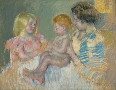 Mother and Children, c.1900, Pastel on Parchment