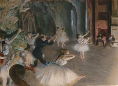 The Rehearsal Onstage, c.1874, Pastel over Brush and Ink
