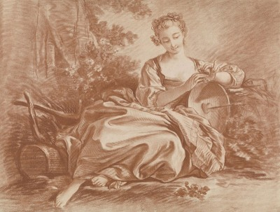 Young Woman Sitting in Repose, c.1760, Pastel on Parchment