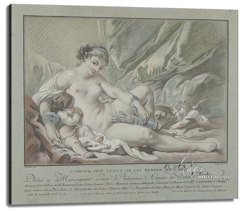 Cupid and Venus, after Louis Marin Bonnet
