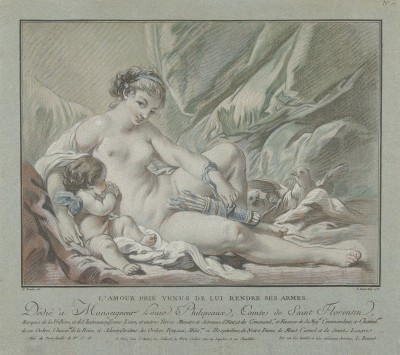 Cupid begs Venus to give his arrows back, c.1768, Pastel on Grey Parchment
