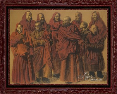 A Group of Tibetan Lamas, after Alexandre Iacovleff