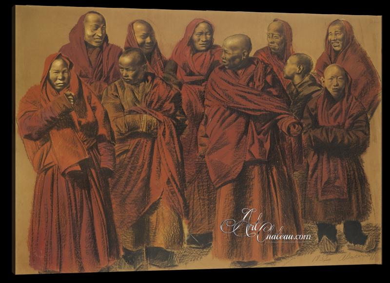 A Group of Tibetan Lamas, after Alexandre Iacovleff