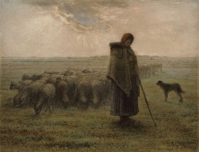 Shepherdess and Her Flock, c.1863, Black Chalk and Pastel on Parchment