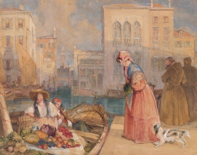 Fruit sellers on a Venetian Canal, c.1851, Watercolor on Parchment