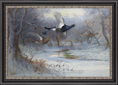 Pheasants in a Woodland Landscape, after Archibald Thorburn