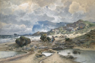 Coastal Landscape with Fishermen in Brittany, c.1892, Watercolor