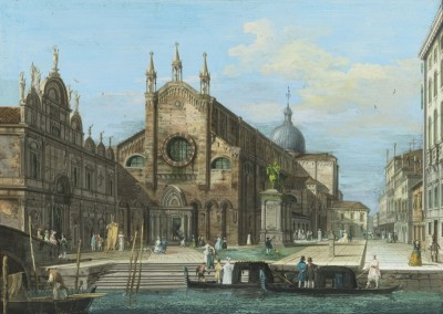 View of the Basilica of Santi Giovanni e Paolo in Venice, c.1810, Watercolor on Parchment