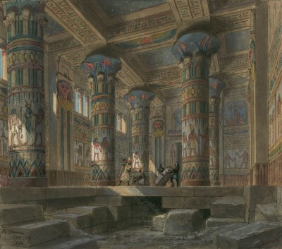 Set Design for Verdi's Opera Aida, Performed at the Palais Garnier in Paris, c.1880, Watercolor on Parchment