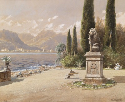 View of Lake Garda, c.1902, Watercolor on Parchment
