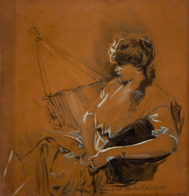 A Study in Red, c.1915, Watercolor on Parchment