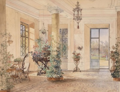 Conservatory in a Small Castle, c.1860, Watercolor on Paper