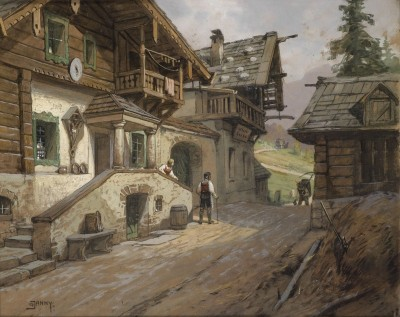 Village Road in the Alps, c.1935, Watercolor on Cardboard