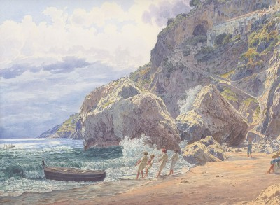A View from Amalfi, c.1837, Watercolor on Parchment
