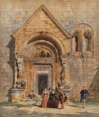 Medieval Church Portal with Villagers, c.1842, Watercolor on Paper