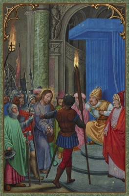 Jesus before Pontius Pilate, c.1520, Tempera colors, gold paint, and gold leaf on Parchment