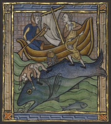 Two Fishermen on an Aspidochelone, c.1270, Tempera colors, gold leaf, and ink on parchment