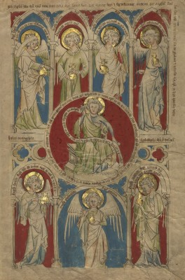 Saint John the Evangelist and Angels representing the Seven Churches, c.1345, Tempera colors, gold leaf, and brown and black inks on parchment