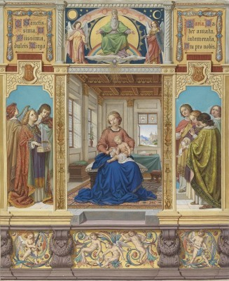 The Virgin Mary, mother of Jesus sitting in a room and surrounded by angels, c.1874, watercolor on parchment